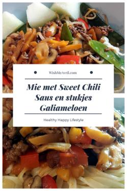 Mie met Sweet Chili Saus en stukjes Galiameloen