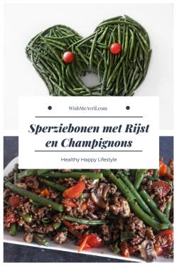 Sperziebonen met Rijst en Champignons