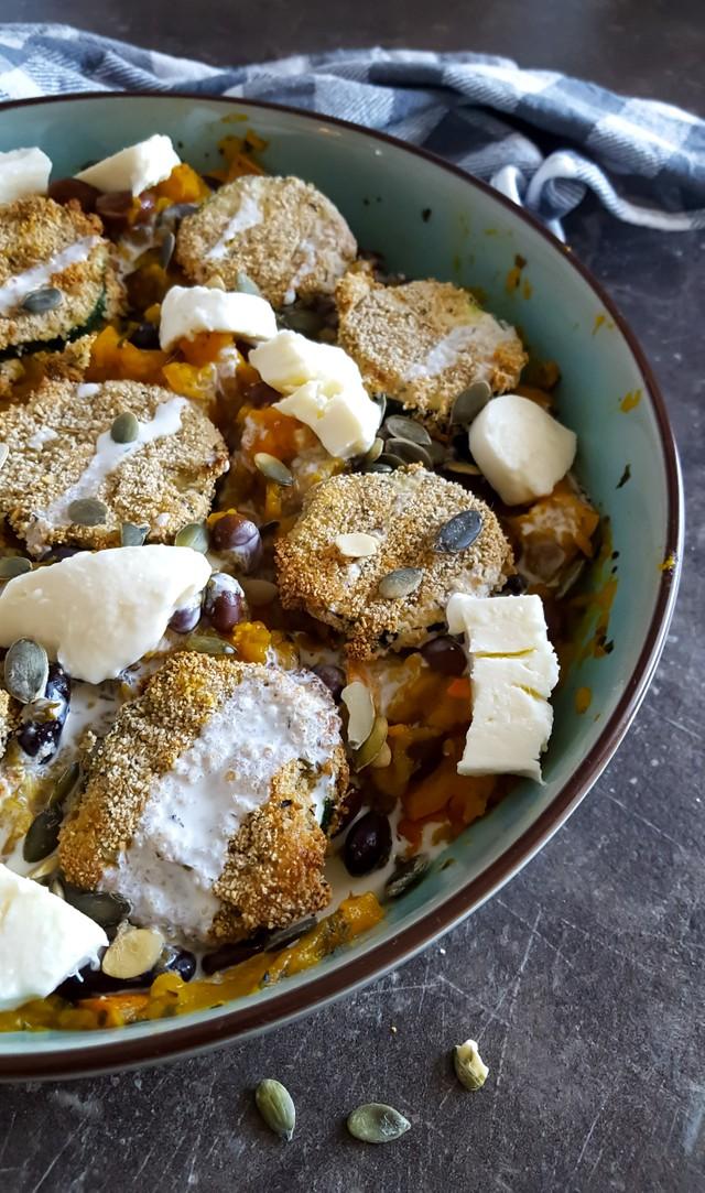 Pompoenpuree met Gepaneerde Courgette en Mozzarella