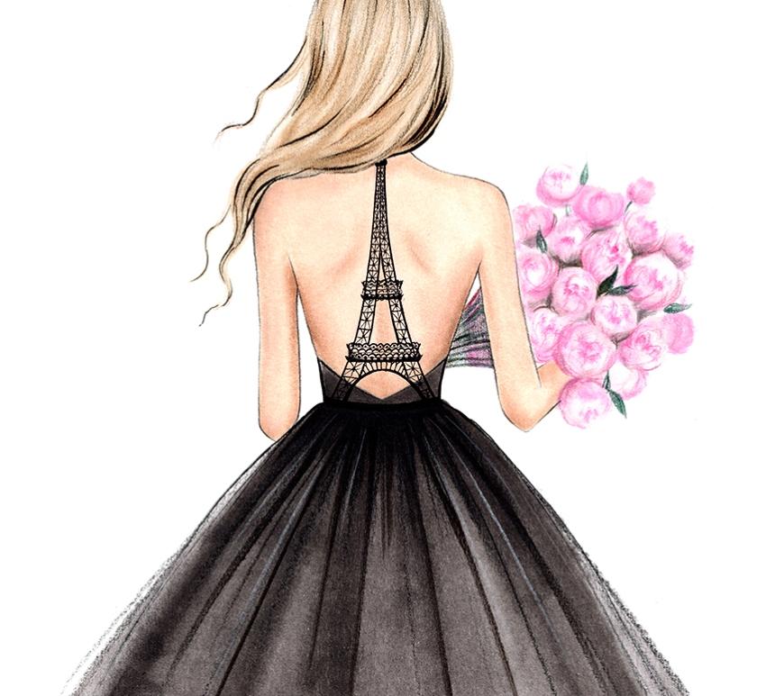 Fashionista Kunst op Papier door Lalana Arts